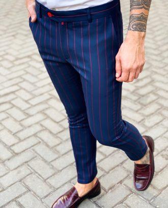 Синие мужские брюки в полоску. Арт.:6-1127-3