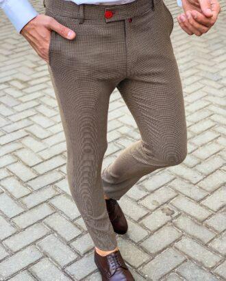 Зауженные брюки в мелкую клетку. Арт.: 6-1126-3