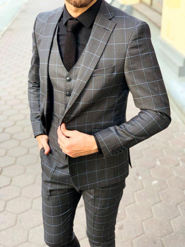 Мужской серый костюм в клетку. Арт.: 4-1143-3