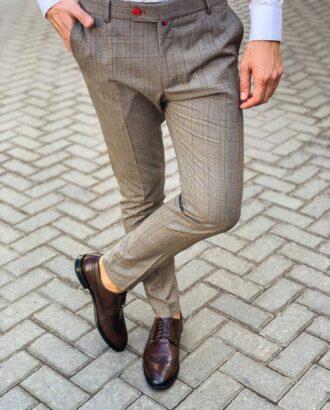 Укороченные брюки светло-коричневого цвета в клетку. Арт.:6-1122-3