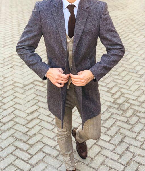 Классическое мужское пальто серого цвета. Арт.: 1-1122-2