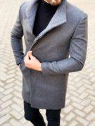 Серое мужское пальто со скошенным бортом. Арт.:1-1121-2