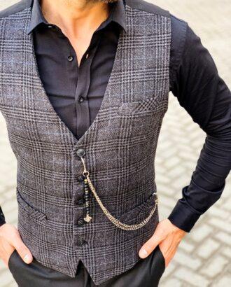 Мужской серый жилет в стиле кэжуал. Арт.: 3-1120-3