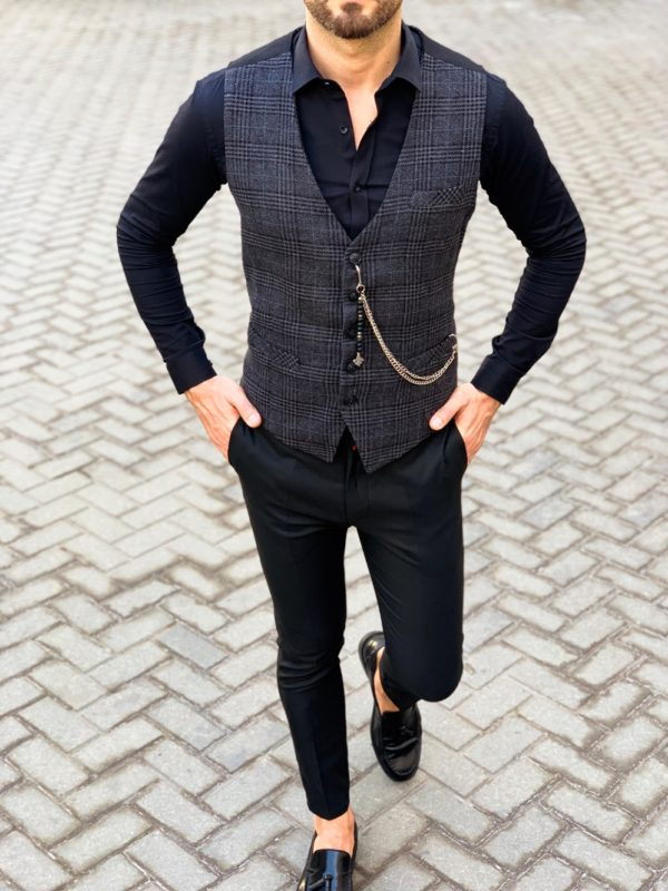 Мужской серый жилет в стиле кэжуал. Арт.:3-1120-3