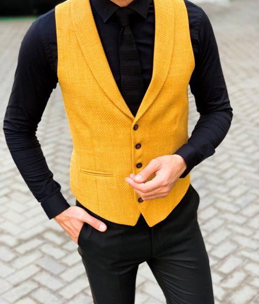 Классический мужской жилет горчичного цвета. Арт.:3-1118-5