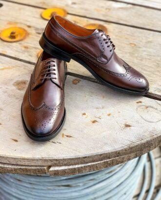 Кожаные броги коричневого цвета. Арт.:14-1106