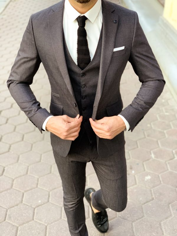 Серый мужской костюм-тройка. Арт.:4-1141-3