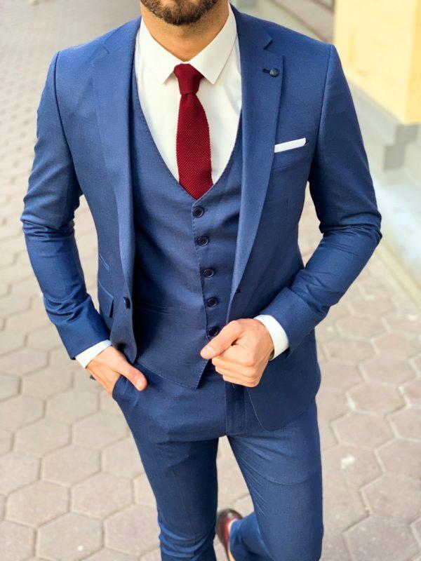Мужской костюм-тройка в синем цвете. Арт.:4-1140-3