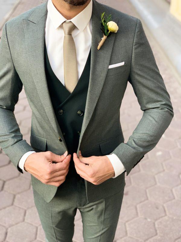 Зеленый мужской костюм-тройка. Арт.:4-1139-3