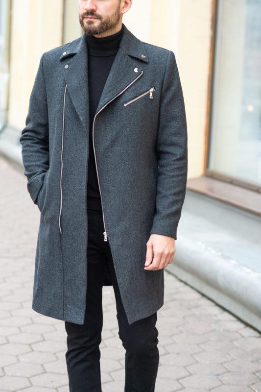 Мужское серое пальто. Арт.:1-1201-2