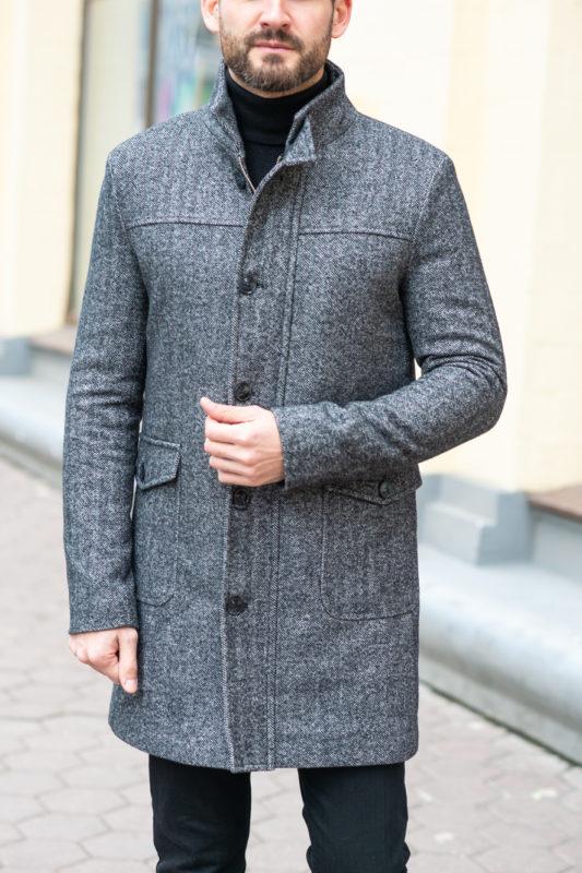 Зимнее мужское пальто серого цвета. Арт.:1-1202-10