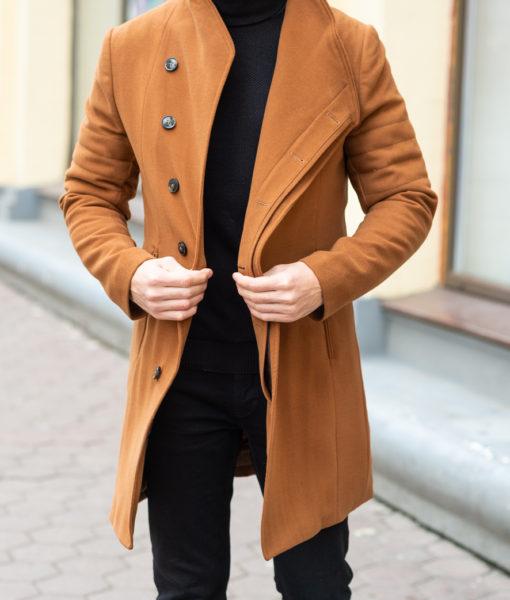Зимнее мужское пальто горчичного цвета. Арт.:1-1203-10