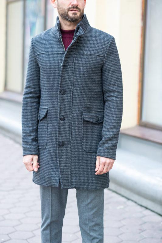 Утепленное мужское пальто серого цвета. Арт.:1-1205-10