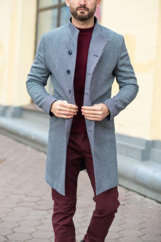 Зимнее мужское пальто в светлом цвете. Арт.:1-1206-3