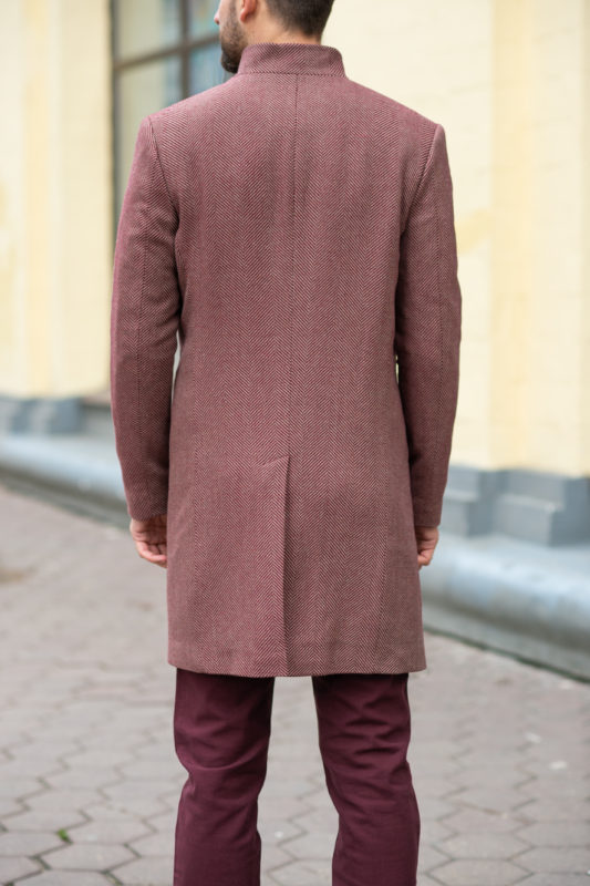 Мужское зимнее пальто из шерсти в бордовом цвете. Арт.:1-1207-3