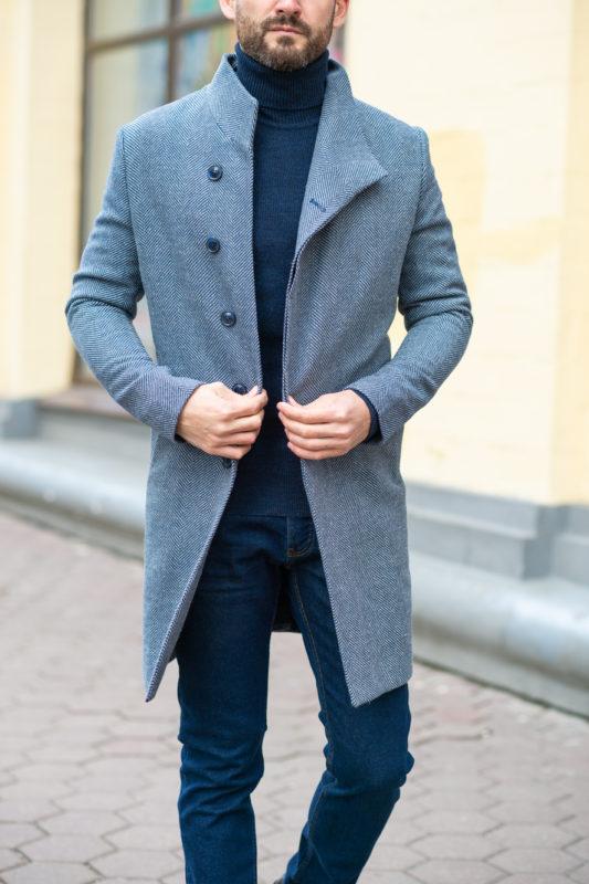 Шерстяное зимнее пальто синего оттенка. Арт.:1-1208-3