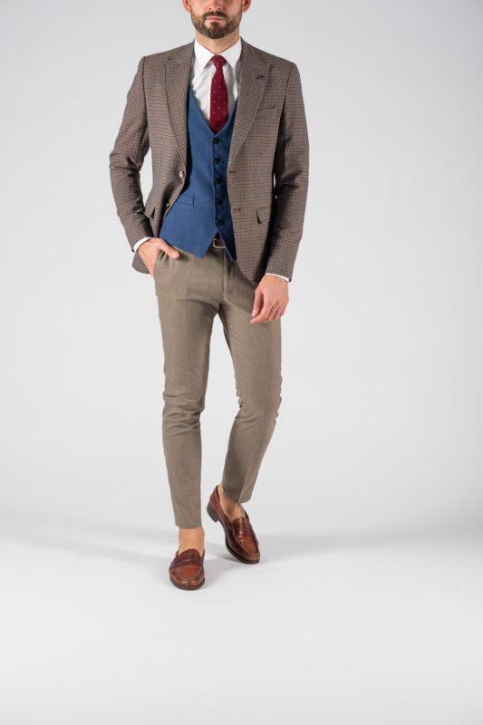 Коричневый мужской пиджак в мелкую клетку. Арт.:2-1211-5