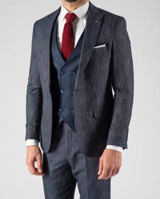 Синий мужской костюм-тройка. Арт.:4-1218-3