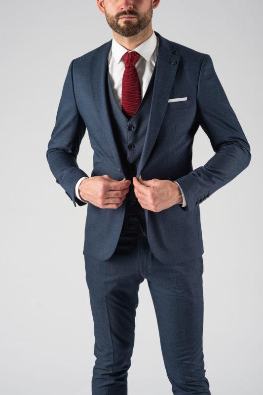 Стильный костюм-тройка синего цвета. Арт.:4-1219-3