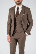 Коричневый приталенный костюм-тройка. Арт.:4-1221-3