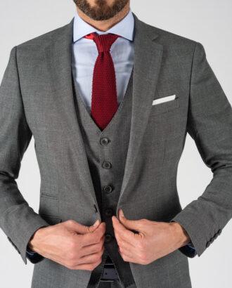 Мужской костюм тройка серого цвета. Арт.:4-1223-3