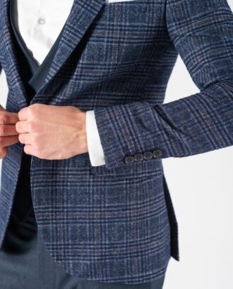Комбинированный костюм-тройка синего цвета. Арт.:4-1224-3