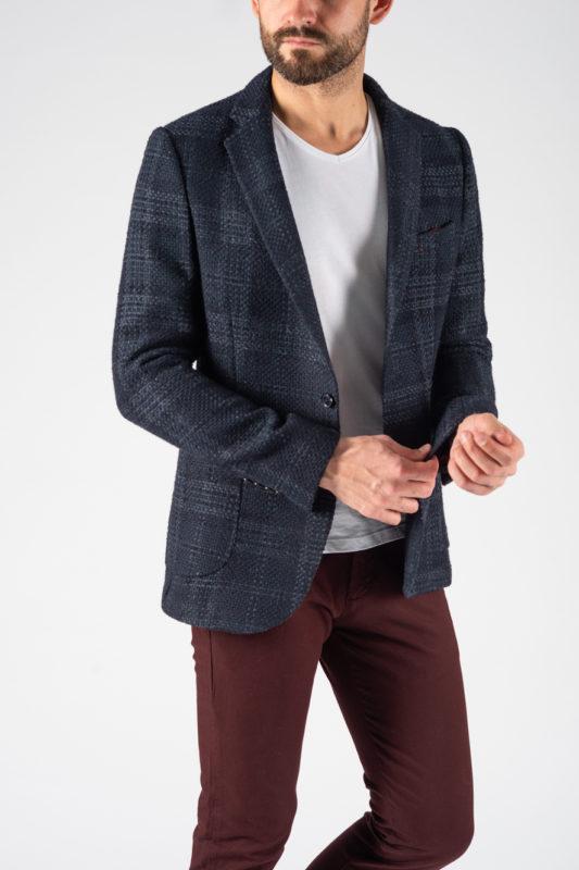 Мужской фактурный пиджак графитового цвета. Арт.:2-1239-3