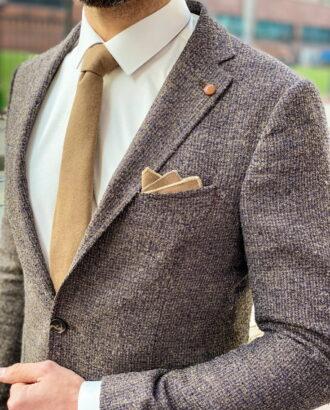 Мужской пиджак коричневого цвета. Арт.: 2-1258-3