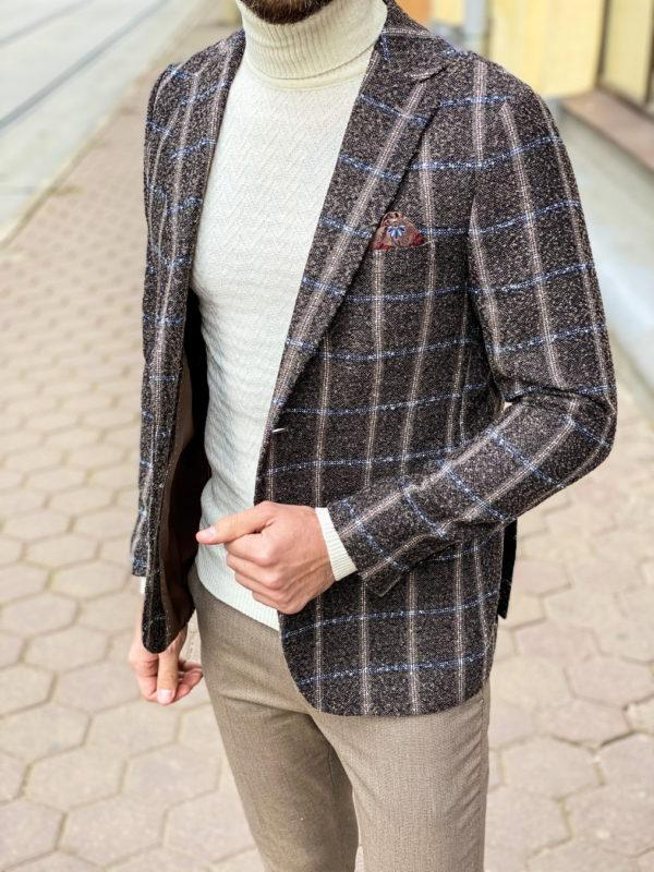Мужской пиджак коричневого цвета в клетку. Арт.:2-1259-3
