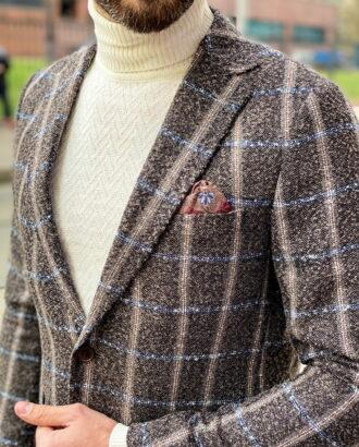 Мужской пиджак коричневого цвета в клетку. Арт.: 2-1259-3