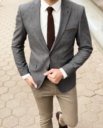 Клетчатый пиджак серого цвета. Арт.: 2-1260-2