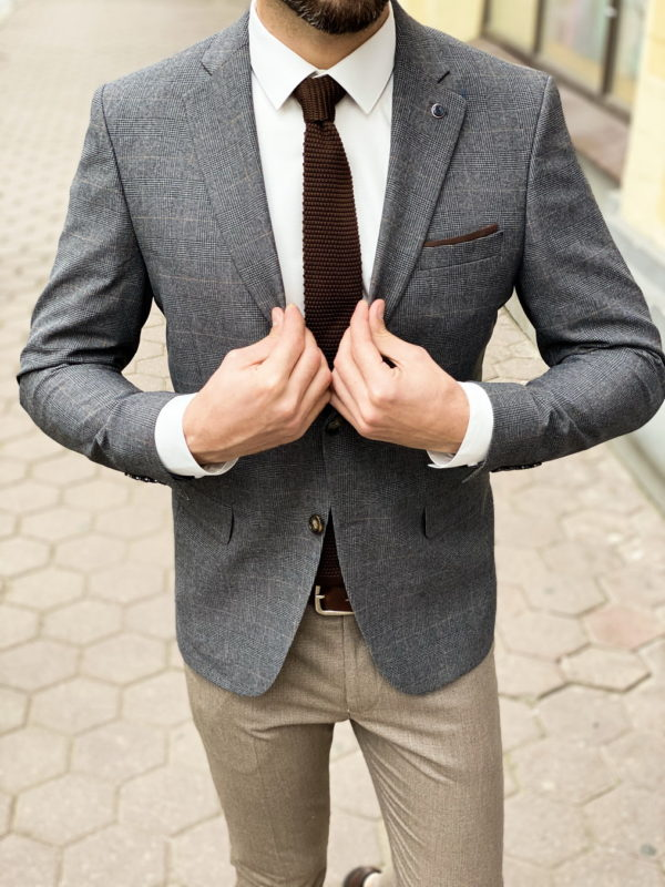 Клетчатый пиджак серого цвета. Арт.:2-1260-2
