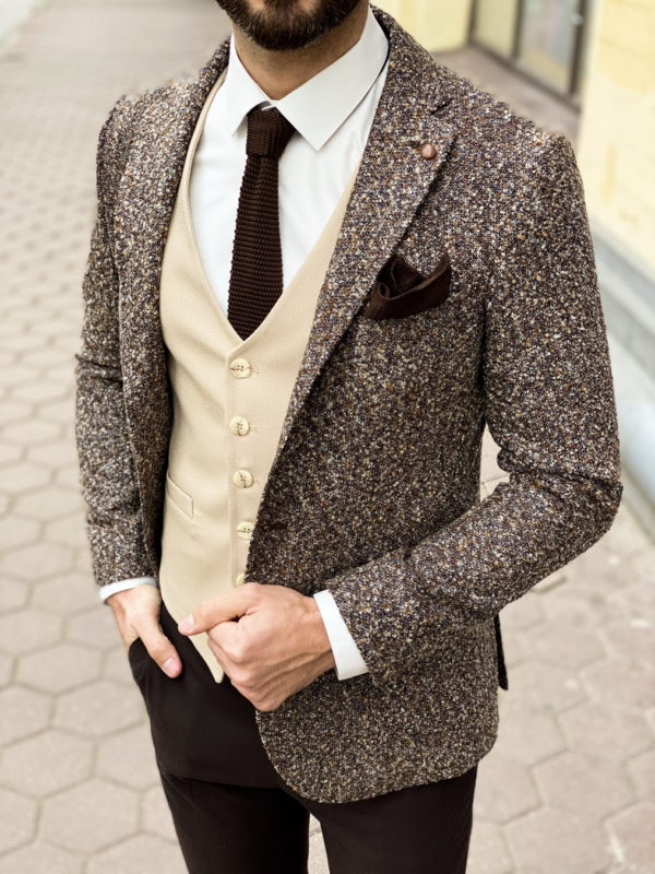 Шерстяной мужской пиджак в коричневом оттенке. Арт.:2-1261-3