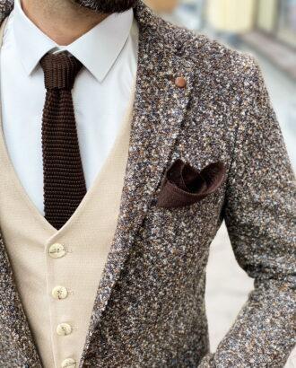 Шерстяной мужской пиджак в коричневом оттенке. Арт.: 2-1261-3
