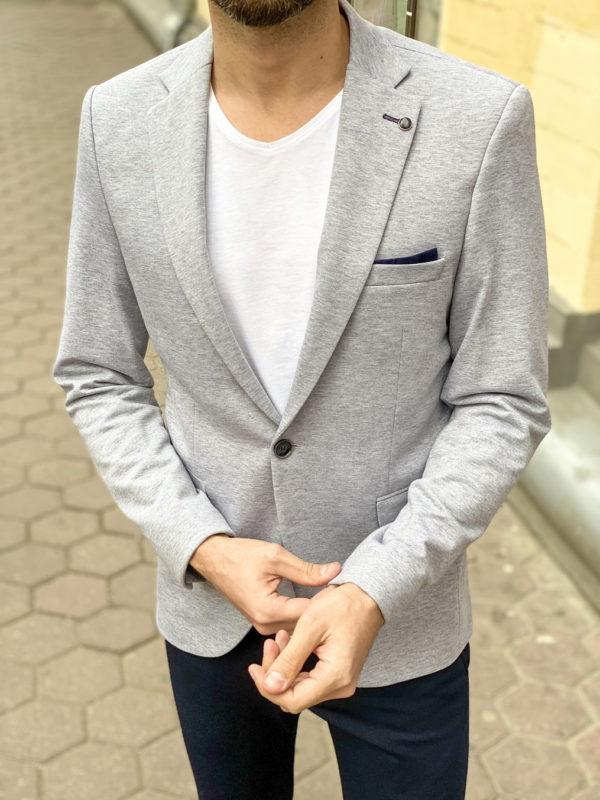 Трикотажный пиджак серого цвета. Арт.:2-1262-2