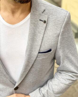 Трикотажный пиджак серого цвета. Арт.: 2-1262-2