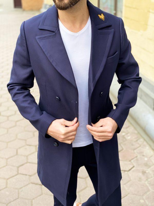 Мужское пальто синего цвета. Арт.:1-1263-3