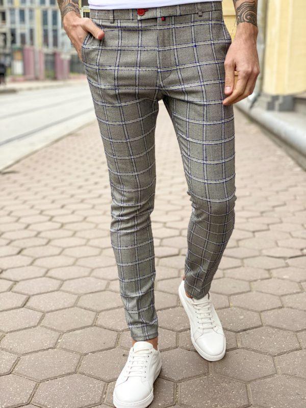 Мужские серые брюки в клетку. Арт.:6-1264-3