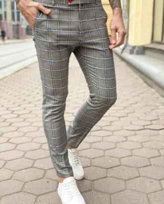 Мужские серые брюки в клетку. Арт.: 6-1264-3