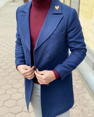 Демисезонное пальто синего цвета. Арт.:1-1266-3