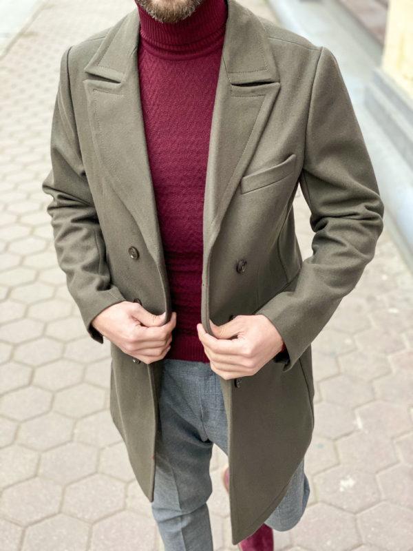 Облегченное мужское пальто зеленого цвета. Арт.:1-1267-3