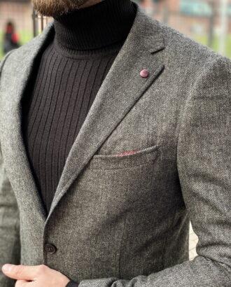 Мужской серый кэжуал пиджак. Арт.:2-1252-3