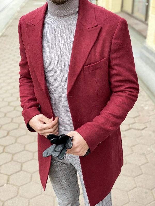 Классическое бордово пальто. Арт.:1-1269-3