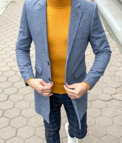 Осеннее пальто синего цвета. Арт.:1-1270-3