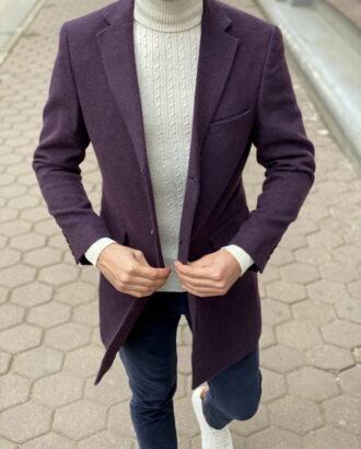 Фиолетовое мужское пальто. Арт.:1-1271-3