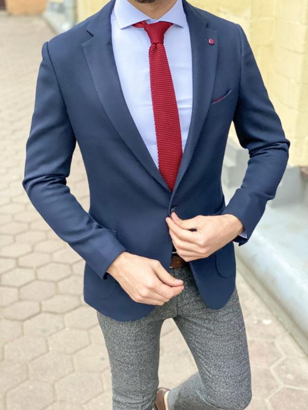 Фактурный пиджак синего цвета. Арт.:2-1272-3