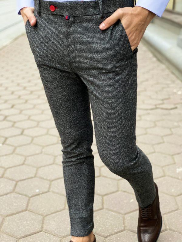 Зауженные мужские брюки серого цвета. Арт.:6-1272-3