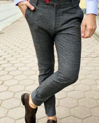 Зауженные мужские брюки серого цвета. Арт.: 6-1272-3