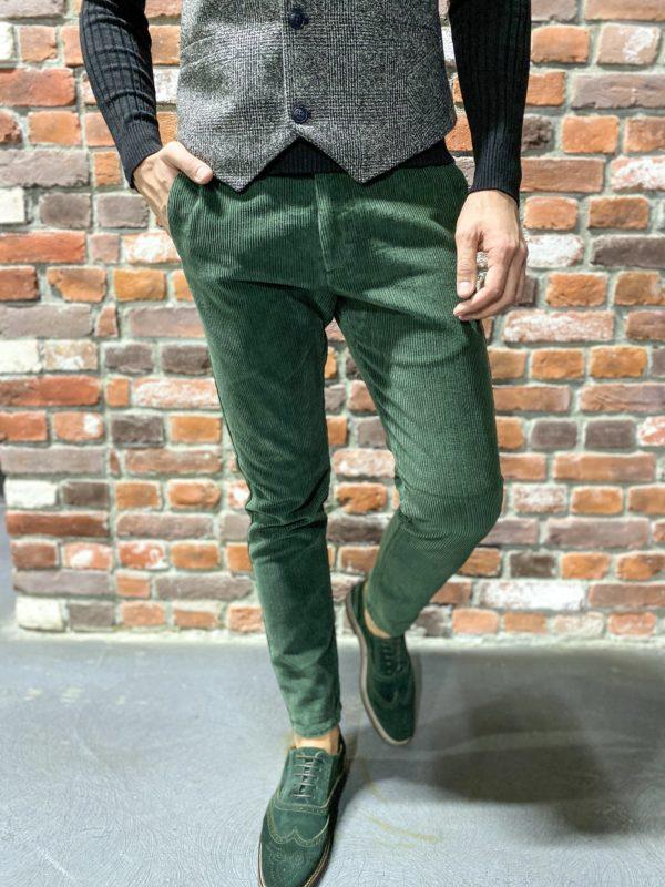 Зеленые мужские брюки из вельвета.  Арт.: 6-1275-3