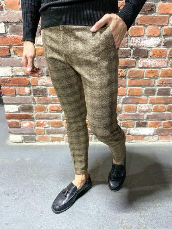 Бежевые брюки в клетку. Арт.:6-1277-3